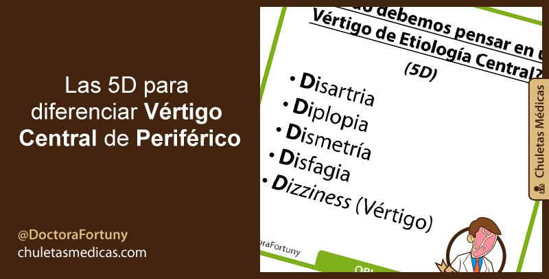 Las 5D para diferenciar Vértigo Central de Periférico