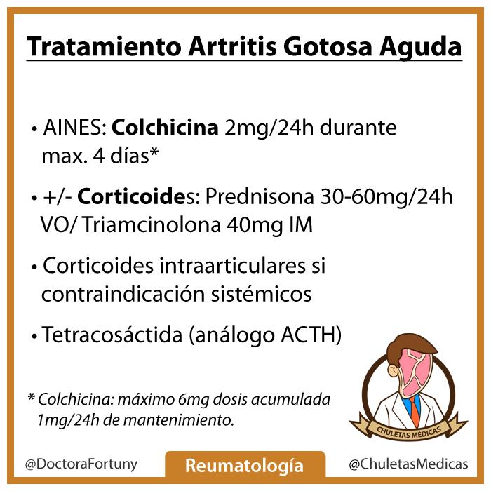 Artritis gotosa o gota tratamiento