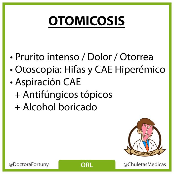 Otomicosis: Diagnóstico y tratamiento chuleta