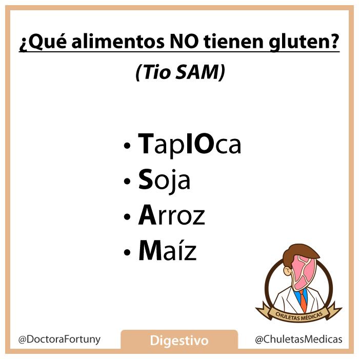 ¿Qué alimentos NO tienen gluten?