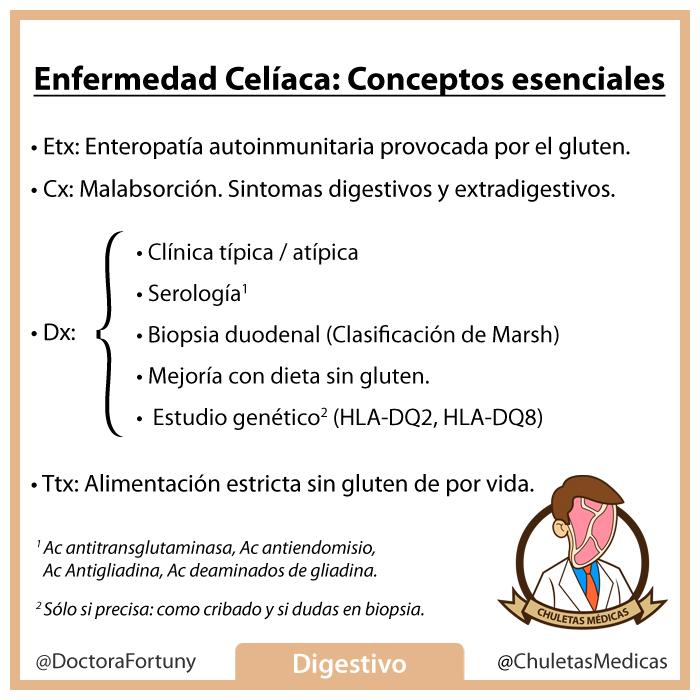 Enfermedad Celíaca: Conceptos esenciales chuleta