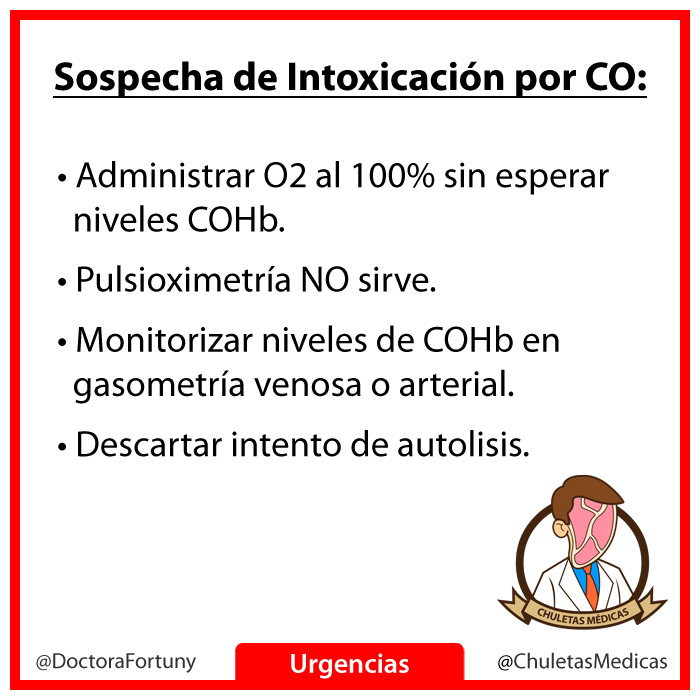 sospecha intoxicacion monoxido carbono chuleta